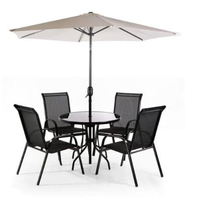Asha Textilene 4 Seater Round Garden Furniture Set With Parasol | Konga  Nigeria