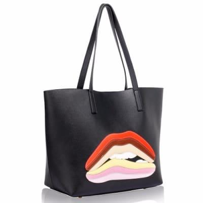 ls Black Rainbow Lip Tote