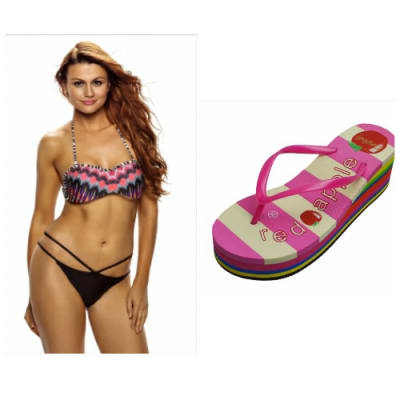 Emfed African Rays Bandeau Bikini Cutout Bottom Swimsuit with Free Flipflop
