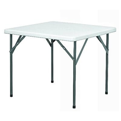fuji square restaurant plastic table with 4 foldable metal legs