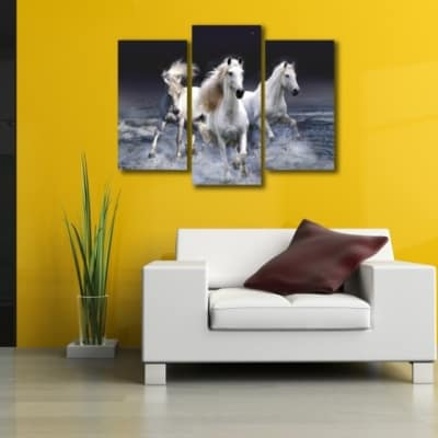 Great White Horses 3 Piece Canvas Wall Art for Home and Office ...