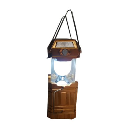 Solar Power Led Rechargeable Lamp Lantern With Power Bank And Multi Usb Point -gold