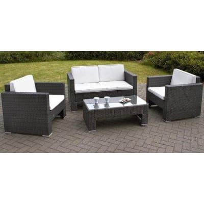 rattan outdoor garden furniture table chair set brown konga