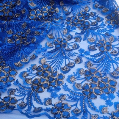 Sequined Exotic Tulle Lace - Blue - 5 Yards