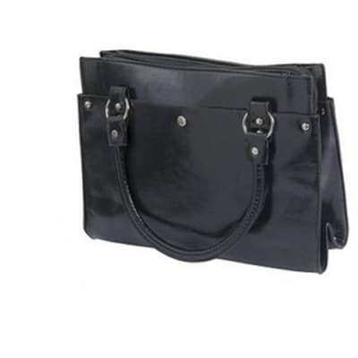 Jabigal Solid Pattern Faux Leather Black Bag