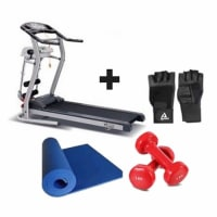 2HP Fitness Treadmill With Massager + Free 1kg dumbbells,Gym Gloves & Yoga Mat