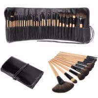 32 Piece Makeup Brush Set + Leather Bag