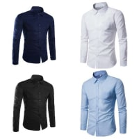 4 In 1 Quality Set Of Formal Men Shirts - Navy Blue, White, Black & Blue