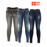 Pack of 3 VM Skinny Fit Jeans + Free Belt
