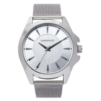 Oversized Silver Mesh Strap Watch