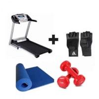 Running Treadmill without Massage - 2HP +  Free 1kg dumbbells,Gym Gloves & Yoga Mat