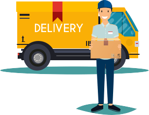 A delivery man carrying a package.