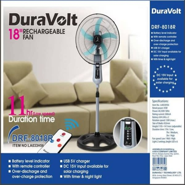 """18"""" Rechargeable Fan With Remote Control."""