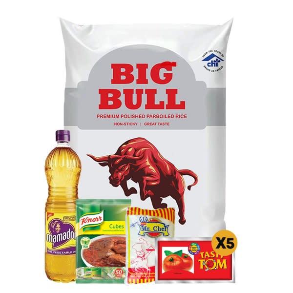 1 Big Bull 10kg + 1 Mamador 0.9L + 1 Mr Chef Salt + 1 Knorr + 5 Tomato Paste.