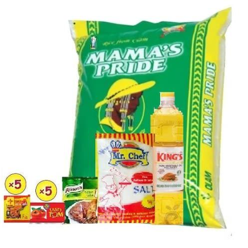 Mama's Pride Parboiled Rice 10kg+Free Oil + Salt + Knorr +Tomato Paste & Signature Jollof.
