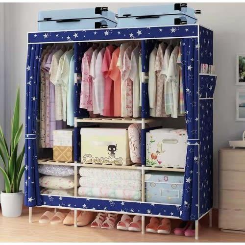 Wooden Wardrobe - 3column - Blue.