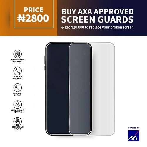 AXA Screen Protector For iPhone 12 Pro Max + N20,000 On Screen Damage Repair.