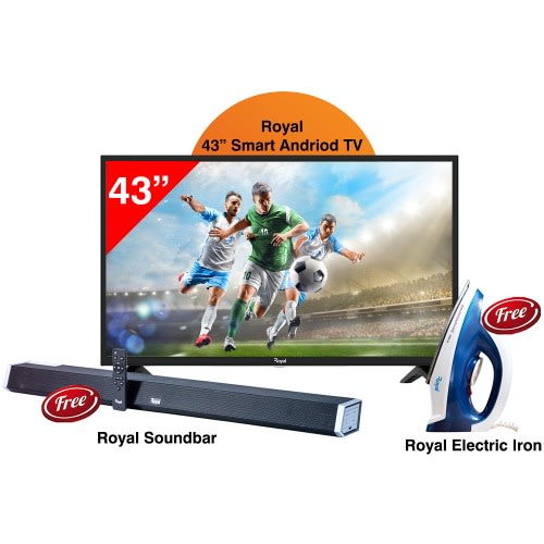"""43"""" Full Hd Smart Tv- Rtv43sa72 + Free Sound Bar Rsb-f6011bc + Dry Iron Rdi-f158wb."""