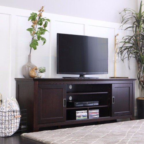 70 in Espresso Wood TV Stand with Sliding Doors - Brown