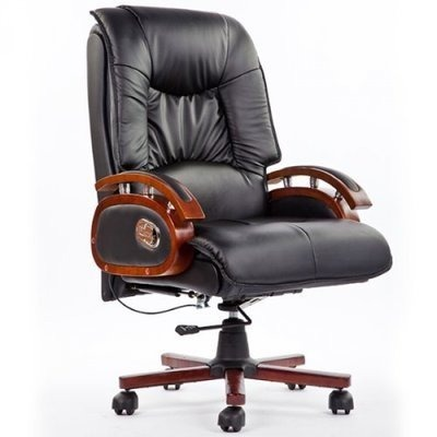 Executive Reclining Leather Chair - Black