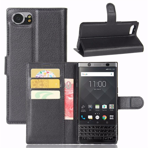 Flip Wallet Leather Case for Blackberry Dteck70 - Black