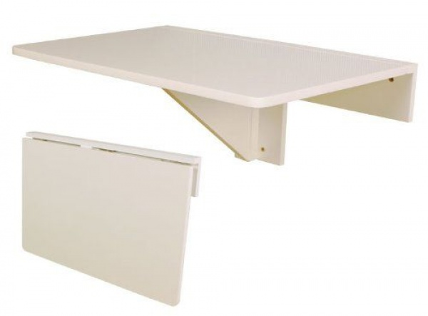 Folding Wall-Mounted Leaf Table - White