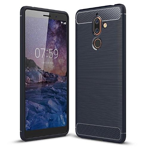 Brushed Texture Carbon Fiber Shockproof Tpu Protective Back Case for Nokia 7 Plus