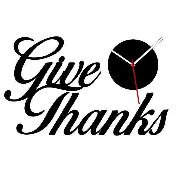 'Give Thanks' 3D Acrylic Wall Clock MX022 - Black