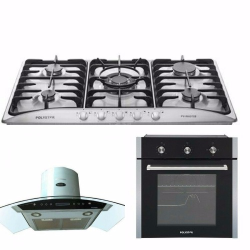 Single Gas Oven, 5 Gas Burner & Cooker Hood Extractor Package