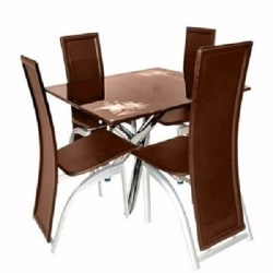 classic dining table with 4 classic chairs brown - Kitchen And Dining Furniture