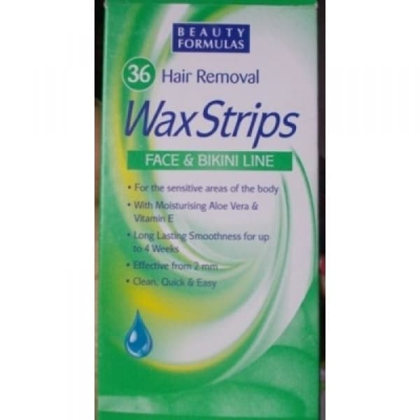 Beauty Formulas 36 Hair Removal Wax Strips For Face Bikini Line