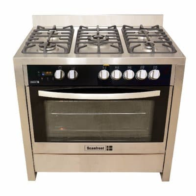 Scanfrost 5 Gas Burners Gas Cooker Sfc9502ss Silver 90x55cm