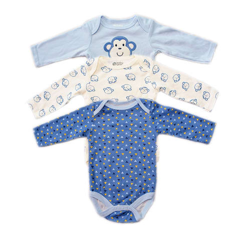 021a682afbf0 Baby Gear Baby Boy Bear Bodysuit 3 In 1 Pack Onesies - Blue