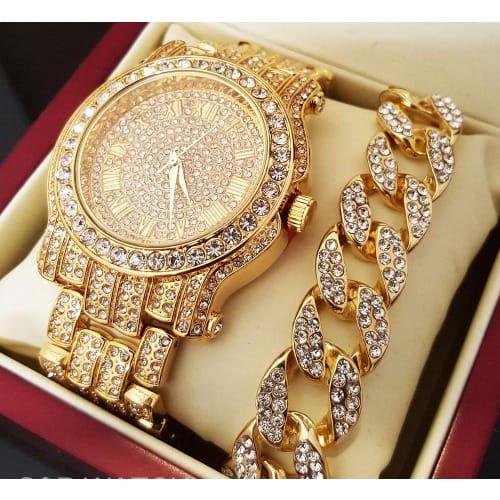 e0dcc260021fd Men's Iced Out Gold Tone Watch & Cuban Bracelet Gift Set