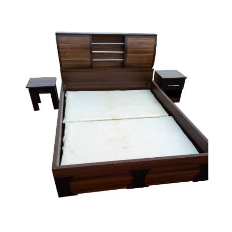 Hrm Luxury 6ft By 6ft MDF One Bed Side-bed Frame With Free Side Stool & Bed Spread