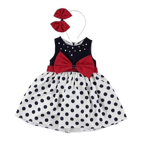20c2ec49916 Girls Polka Dot Dress With Red Design.