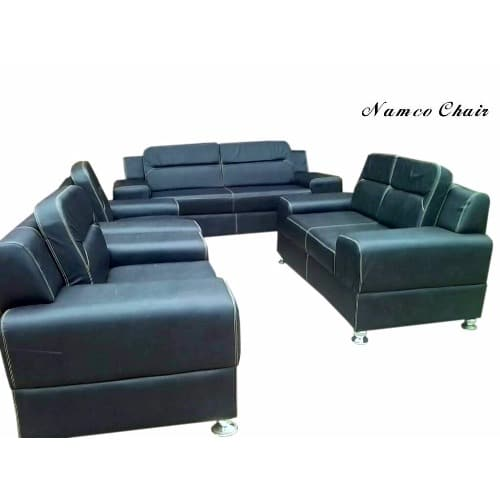 Terrific Living Room Leather Sofa Set Black Plus One Ottoman Free Beutiful Home Inspiration Truamahrainfo