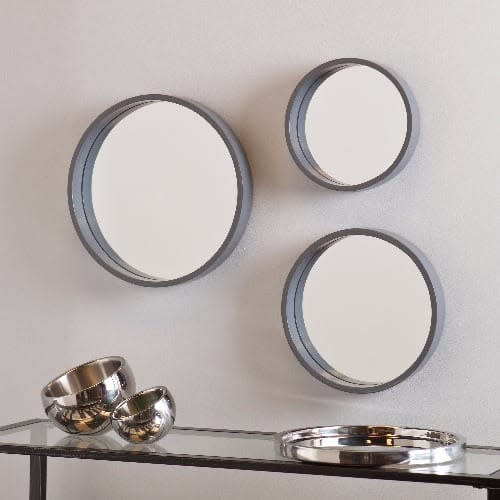 Decorative 3 Piece Wall Mirror Silver, Mirror For Living Room Wall