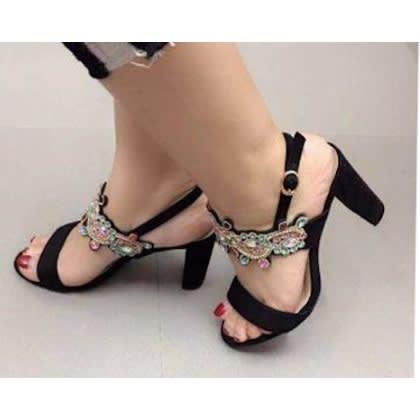 Ladies Block Heeled Sandals - Black
