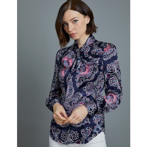 aabbdf71cdef50 Hawes & Curtis Women's Blue & White Chain Print Fitted Satin Blouse ...