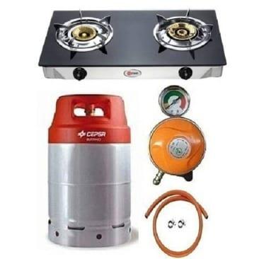 12.5kg Gas Cylinder With Glass Top Double Burner, Metered Regulator, Hose And Clip.