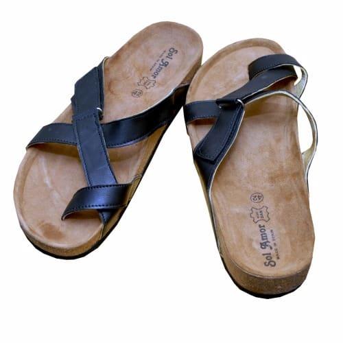52614997e Adjustable Criss-Cross Strap Leather Slippers - Black | Konga Online ...