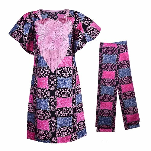 Africa Wax Ankara Short Dress With Glow Sequins Embellishment