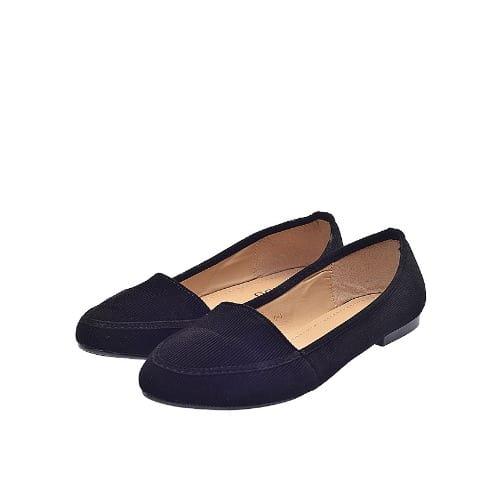Ladies' Suede Flat Shoes - Black