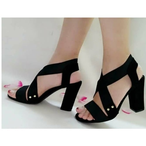 5bfb62be85fc Cross Strap Block Heel Sandals - Black