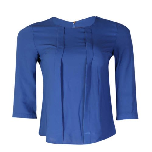 3cb4ec449140ef Reaction Short Length Chiffon Blouse With Button On Sleeve - Blue ...
