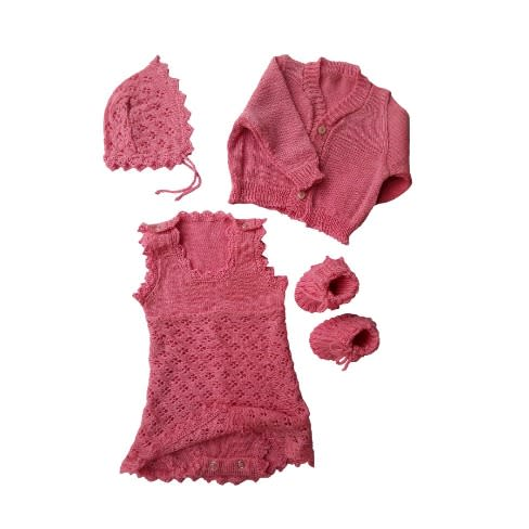 29ccb6de9e722 Knit Baby Girl Dress, Jacket, Bonnet And Booties- Baby Pink