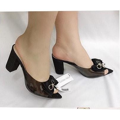 1a153b79444 Black Heeled Ladies Slip On