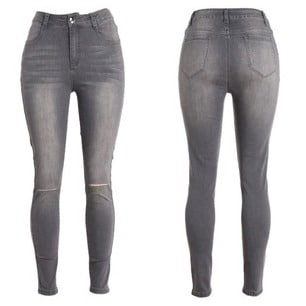 best price meticulous dyeing processes classic High-waist Ladies' Ripped Skinny Jeans-grey