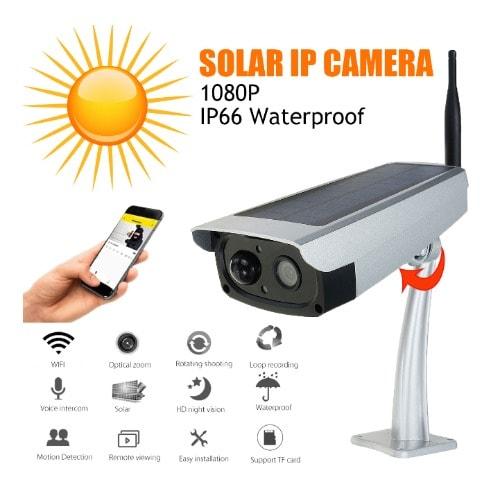 Solar-powered Ip Surveillance Camera - 1080p, 2.0mp, Tf Card, Wifi, Waterproof